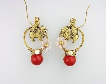 Pomeranian Earrings, Pomeranian Jewelry, Red Dog Earrings, Animal Hoop Earrings, Red Animal Earrings, Animal Lover Earrings, Dog Jewelry