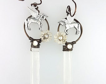 Pegasus Earrings, Pegasus Jewelry, Fantasy Hoop Earrings, White Woodland Earrings, Clear Crystal Quartz Earrings, Flying Horse Jewelry