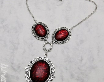 Blood is Life Collier Kollier Necklace XL large goth handmade fashion jewelry red shimmering holographic glitter Vampire Monster Heart Love