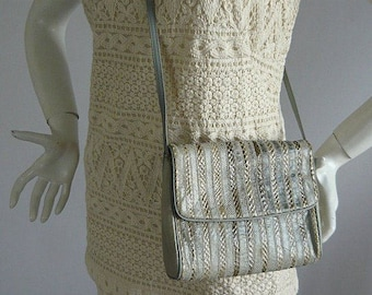 Genuine Lizard Snakeskin Shoulder Bag / small Clutch Envelope Purse 1990s / Anne Klein  AK for Calderon / Grey Brown Handbag