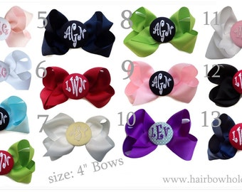Monogrammed Hair Bow - Pick Your Color