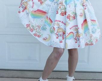 M Rainbow Brite Skirt, Handmade Rainbow Brite Skirt, DIY 80s skirt, 80s Nostalgia, 80s Rainbow Brite clothing, Womens Rainbow Brite Clothing