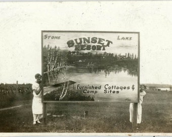 vintage photo 1919 Stone Lake Sunset Resort Sign Women on either Side