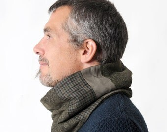 Mens dark green cowl scarf, Winter green and grey patchwork snood, Winter accessories, Mens fashion, Gift for him, Green tube scarf, MALAM