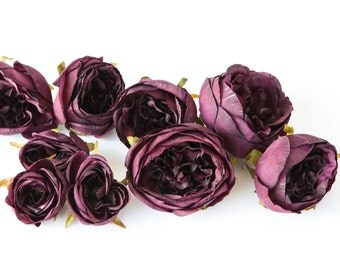 Set of 9 Small to Large Cabbage Roses in Plum, Dark Purple - Silk Artificial Flowers -read description- ITEM 0967