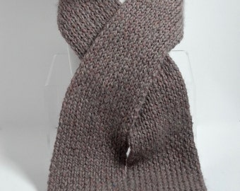 Men's Hand Knit Alpaca Scarf in Taupe Heather