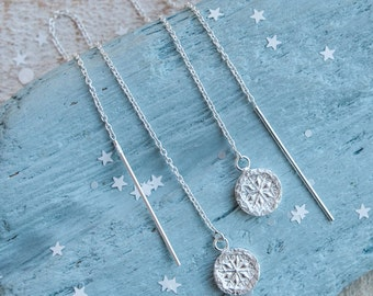 Silver Snowflake Threader Earrings, Handcrafted Snowflake Earrings, Delicate, Christmas Earrings, Winter wedding, Silver Snowflake earrings