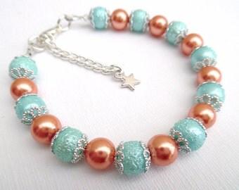 Orange and Aqua Mint Green Bracelet with Star Charm, Bridesmaids Jewelry Gift, Summer Wedding, Single Strand Bracelet, Aqua Mint Wedding