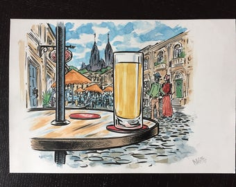 Beer still life in Cologne original ink and watercolor painting