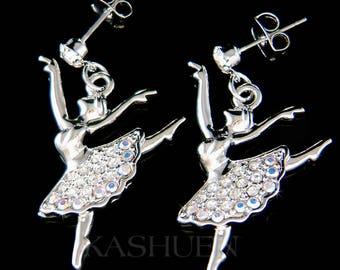 Swarovski Crystal Clear BALLERINA The Nutcracker Ballet Dancer Dance Girls Pierced Earrings Mother's Christmas Gift New for Swan Lake Lover
