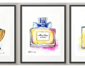 Shalimar Miss Dior Chanel Original Watercolor ART PRINT Fashion Art Fragrances Perfume Art Elena