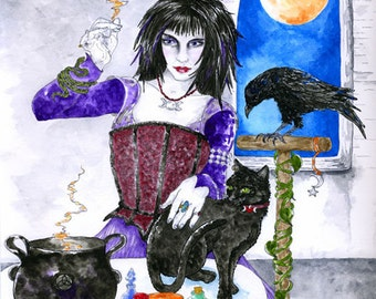Witch Cat Raven Print Pagan Fantasy Art Spellcaster Familiars Cauldron Wicca Halloween Magick Altar Full Moon Ink Watercolor Illustration