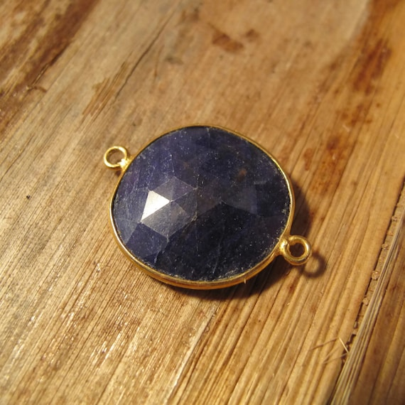 Sapphire Pendant, One Gold Plated Irregular Bezel Pendant, 25mm x 19mm, Double Sided, Blue Gemstone Charm for Making Jewelry (C-Sa1a3)