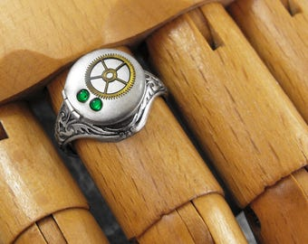 Silver Locket Ring Emerald Green Brass Gear - Clockwork Envy by COGnitive Creations