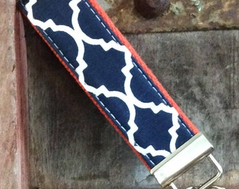 READY TO SHIP-Beautiful Key Fob/Keychain/Wristlet-Navy Lattice On Orange