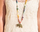 Funky OOAK Elephant Necklace - Long with a Rainbow of Crystals - Gemstone Jewelry - Bohemian Vibe - Gypsy Jewelry - Chakra - Gift for Her