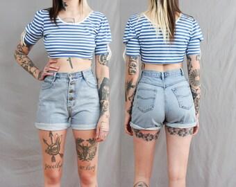 90's Falls Creek Worn In Denim Shorts in Medium . Button Up . Cuffed High Waisted . Light Blue Jean Shorts . Pockets . 1990s 1980s 80s