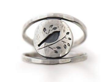 Handmade Summer Songbird Sterling Silver Double Banded Ring
