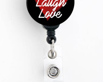 Retractable Badge Reel - Live Laugh Love Watercolor Heart - Badge Holder with Swivel Clip