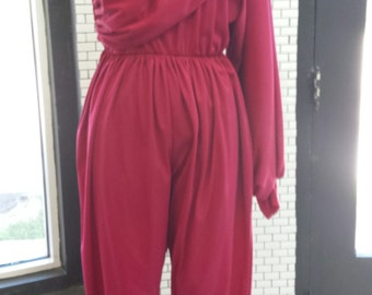 Disco Diva Knit One Shoulder Jumpsuit Vintage 1970s 1980s Raspberry Pink Divine