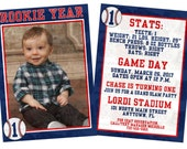 Personalized  Rookie of the Year Baseball theme invitation with photo. Double sided, 2 sizes available. FILE DOWNLOAD only printable.