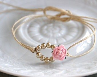 Bridesmaid pearl bracelet// bridesmaid gift//boho wedding//friendship string bracelet. Tiedupmemories