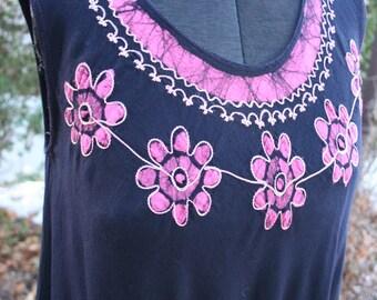 Black and pink hippie swing dress batik India rayon free size festival dress