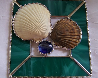 Stained Glass Seashell Panel