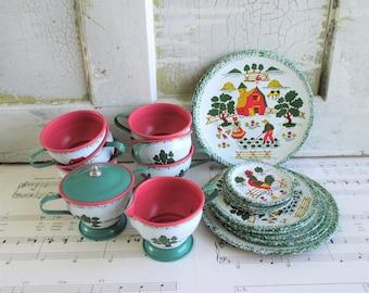 Vintage Ohio Art Apple Farm 26 Piece Tin Tea Set