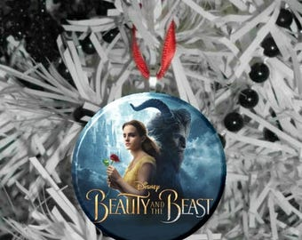 """Beauty and the Beast Stain Live Action Movie Poster Image Image 2.25"""" Ornament"""