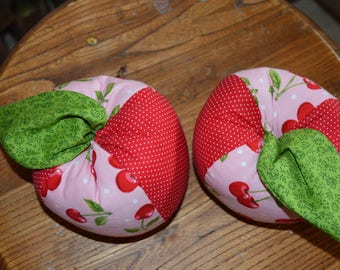 Patchwork Red and Pink Apple Pincushion Decor Piece