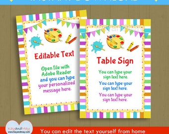 Art party Signs - kids fun colorful artist paint theme birthday party sign - PDF printable with editable text - INSTANT DOWNLOAD #P-100