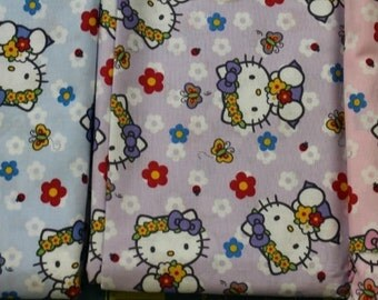 Hello Kitty Flowers butterflies  Three colorways 100% cotton quilting crafting sewing fabric by Sanrio David Textiles