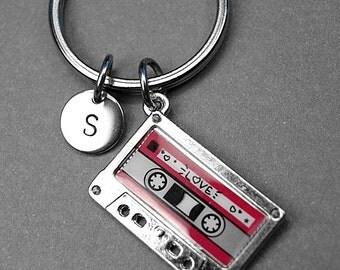 Cassette tape keychain, cassette tape charm, mixed tape keychain, audio cassette charm, personalized keychain, initial keychain, monogram