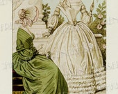 Elegance Historical French Fashion Series 1840 Ladies in Green White with Parasol Antique French Postcard Digital Scan