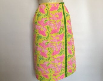 Lily Pulitzer Skirt Hot Pink Koi Fish Print The Lily Sportswear Tropical Preppy Resort Extra Small