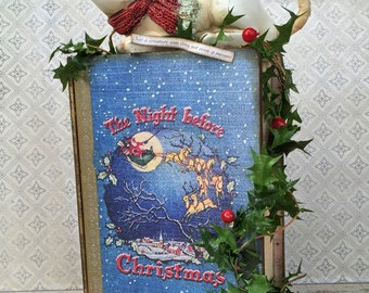 the night before christmas secret book box with santa mouse
