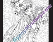 Single Coloring Page - Social Butterfly from the Magical Beauties Collection - Download, Print & Color!
