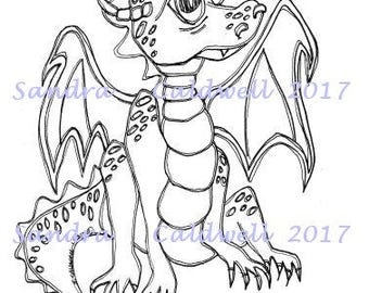 1586 The Youngling Dragon Digi Stamp