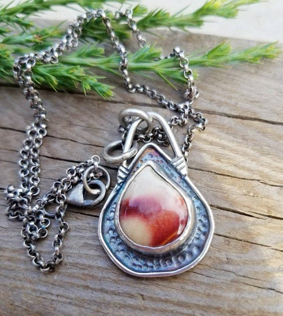 Imperial Jasper Pendant Silver Necklace, Artisan Jewelry, One of Kind, OOAK, Unique Handcrafted Handmade Jewelry, Cowgirl Boho Style Jewelry