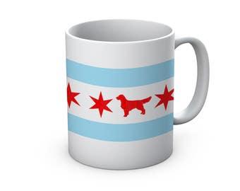 Chicago Flag Golden Retriever Ceramic Mug  - Chicago Coffee Mug - Golden Retriever Mug - Golden Retriever Mug - Coffee Cup - dog Lover gift