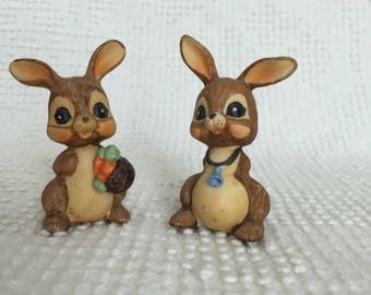 Vintage Bunny Figurines- Set of 2 Woodland Brown Bunnies - One with bluebell and one with basket of carrots - Perfect for Easter and Spring