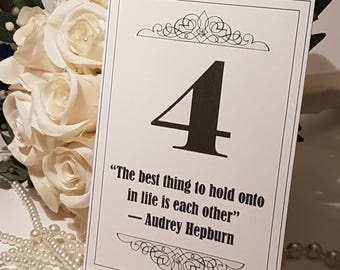 Wedding Table Numbers, Quotes Table Numbers, Black Table Numbers, Black White Wedding, Amaretto Weddings, Wedding Trends, Wedding Decoration