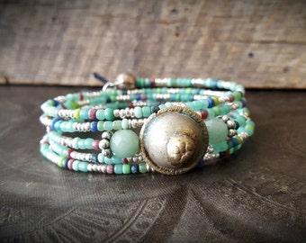 Boho, Gypsy, Jade, Kuchi, Banjara, Button, Glass, Bangle, Memory Wire, Wrap, Beaded Tribal Charm Bracelet