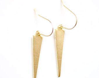Minimalist Brass Spear Spike Earrings - Brass 14k Gold Filled | Sterling Silver Wire