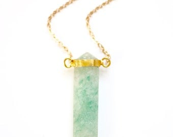 Long Amazonite Point Stone Gold Bezel Necklace - Gold Plated or Gold Filled Chain
