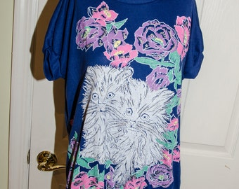 Vintage 1980's Short Sleeved Kittens with Flowers Shirt