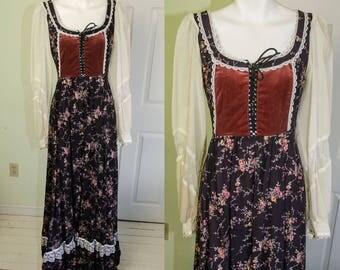 Vintage 1970's Gunne Sax Corset Floral Print Maxi Dress