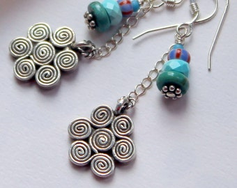 Artisan OOAK Sterling Silver Spiral Flower Charm Multi Colored Turquoise AfricanTrade Bead Boho Hippie Gift for Her Long Dangle Earrings