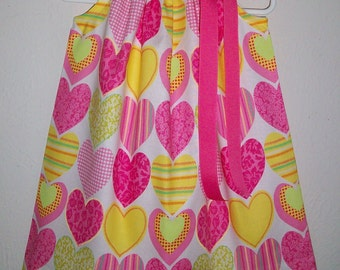 Pillowcase Dress with Hearts Valentines Day Dress Pink and Yellow Hearts Dress Kids Clothes Summer Dresses Toddler Dresses Hot Pink Dress
